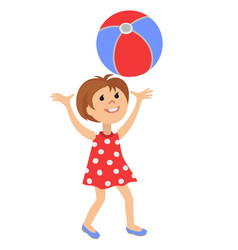funny little girl with ball vector image