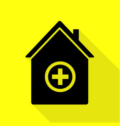 Hospital sign black icon with flat vector