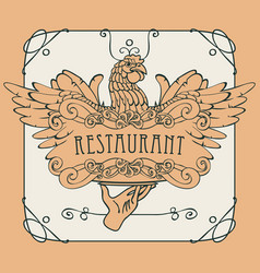 restaurant menu with the hand tray and chicken vector image vector image