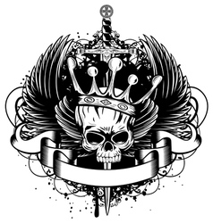 skull with crown wings and sword vector image