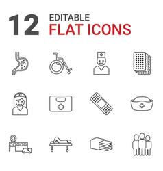 12 hospital icons vector