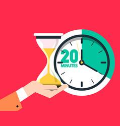 20 twenty minutes timer sand clock - hourglass vector