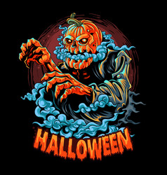 a halloween zombie with a pumpkin head vector image