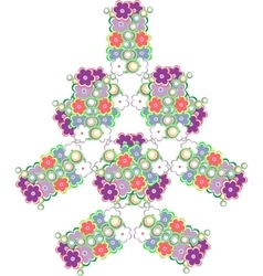 Abstract tree made from cute flowers vector