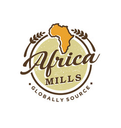 Africa continent vintage logo design wheat vector