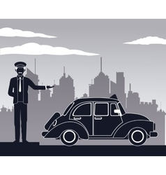 Antique cab car driver service public pictograh vector