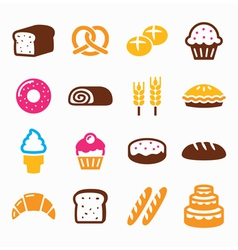 Bakery pastry icon set - bread donut cake vector image