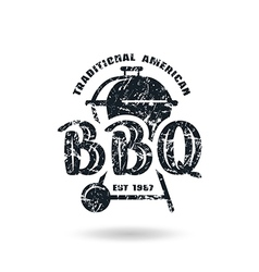 Barbecue emblem with shabby texture vector