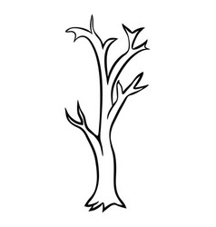 Bare tree cartoon outline design isolated on vector