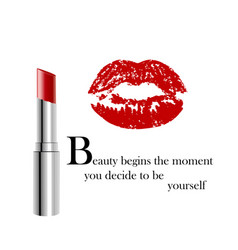 Beauty poster with metallic lipstick and imprint vector
