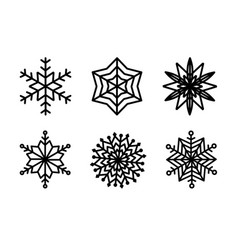 black and white snowflake silhouette design vector image