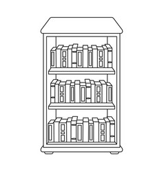 bookcase with books icon in outline style isolated vector image