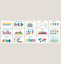 Business presentation charts finance reports vector
