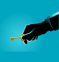 Businessman hand holding a golden key vector