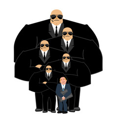 Businessman with bodyguards vip protection black vector