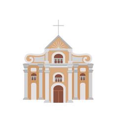 Cartoon construction of catholic church with vector