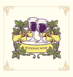 champagne glasses and wedding wine vector image