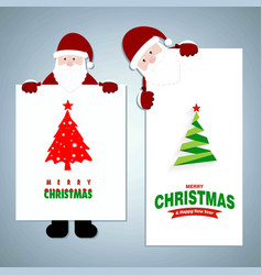 christmas greetings card with santa clause and vector image