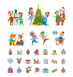 christmas holiday winter preparation and icons vector image