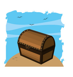 Closed wooden chest box object vector