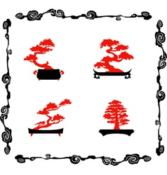 Collection of chinensi bonsai silhouettes vector image
