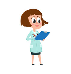 Comic female woman doctor character with bob vector