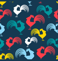 cool pattern with cocks vector image