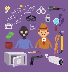 criminal thief cartoon detective character design vector image