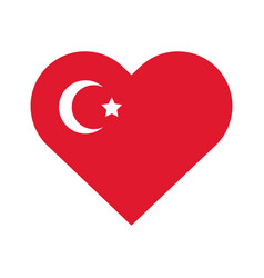 Cumhuriyet bayrami moon and star symbol in heart vector