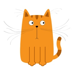 Cute red orange cartoon cat Big mustache whisker vector