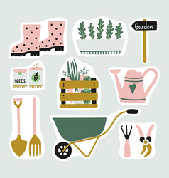 cute set of garden elements stickers gardening vector image