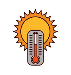 Cute sun with termometer vector