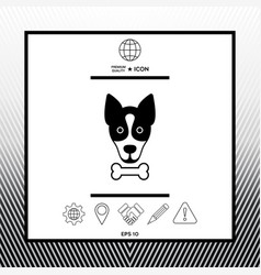 Dog with bone- logo symbol protect sign icon vector