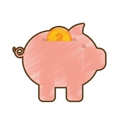 Drawing piggy money coin dollar gold vector