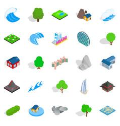 earth landscape icons set isometric style vector image