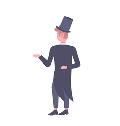 elegant man wearing suit and tall hat rear view vector image