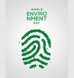 Environment day card green leaf fingerprint vector