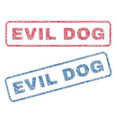 Evil dog textile stamps vector
