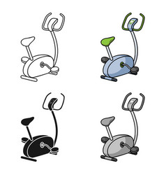 Exercise bicycle icon in cartoon style isolated on vector
