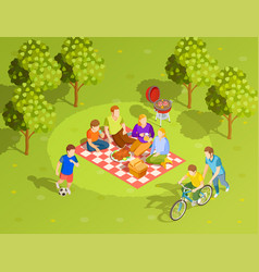 Family summer countryside picnic isometric view vector