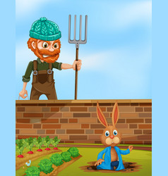 Farmer angry at rabbit in the farm vector