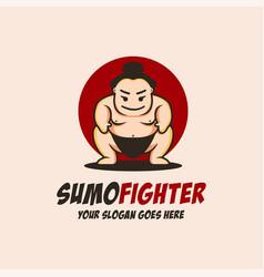 Fat sumo fighter mascot cartoon logo icon vector