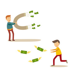 flat people catching money scenes set vector image