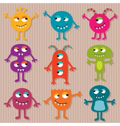 Friendly monsters set vector