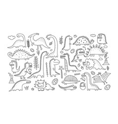 funny dinosaurs collection childish style sketch vector image