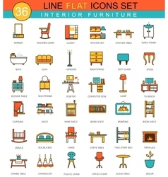 Furniture flat line icon set modern vector