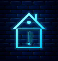 Glowing neon house temperature icon isolated on vector