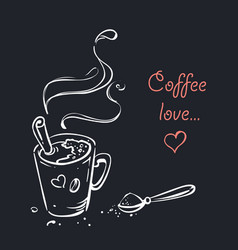 hand drawn coffee cup with cinnamon poster vector image