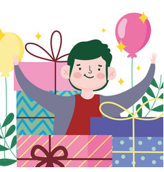 happy boy gift boxes balloons party celebrating vector image
