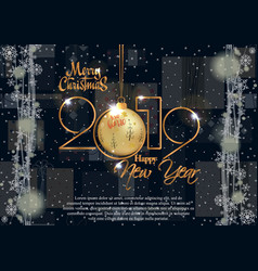 Happy new year 2019 and merry christmas card for vector
